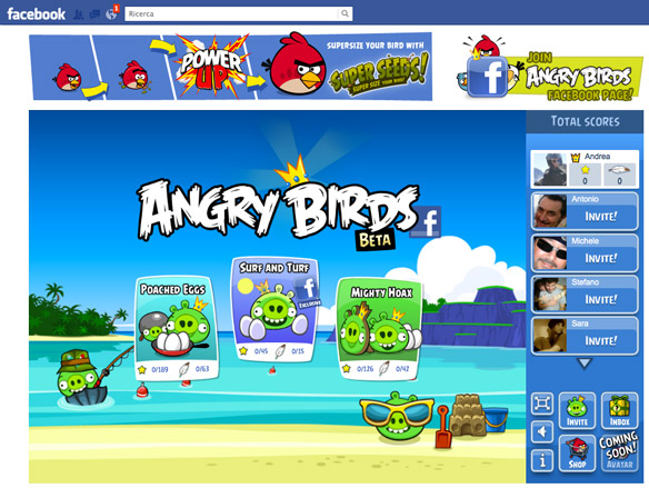 time waster inet  Angry Birds adesso anche su Facebook