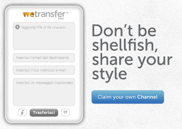 utility siti  Wetransfer per inviare files fino a 2Gb per volta
